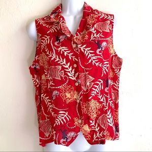 90s Barn Fly Red Cotton Sleeveless Crop Button Top